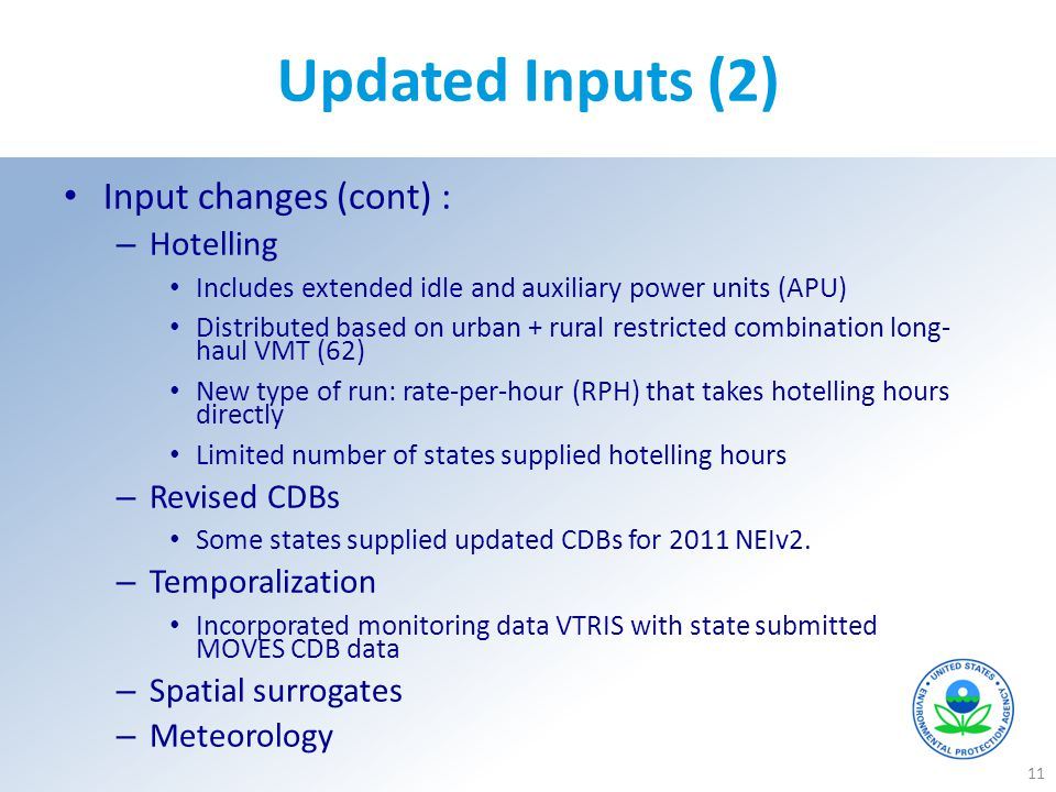 Updated Inputs (2) Input changes (cont) : Hotelling Revised CDBs