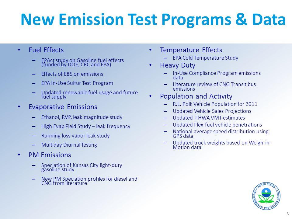 New Emission Test Programs & Data