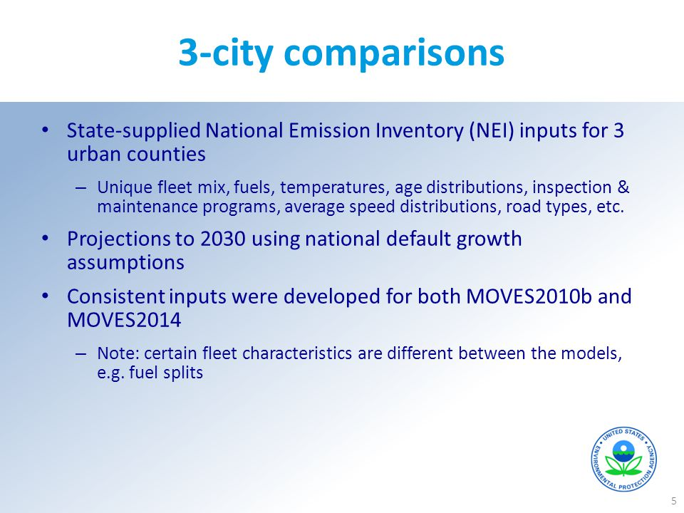 3-city comparisons State-supplied National Emission Inventory (NEI) inputs for 3 urban counties.