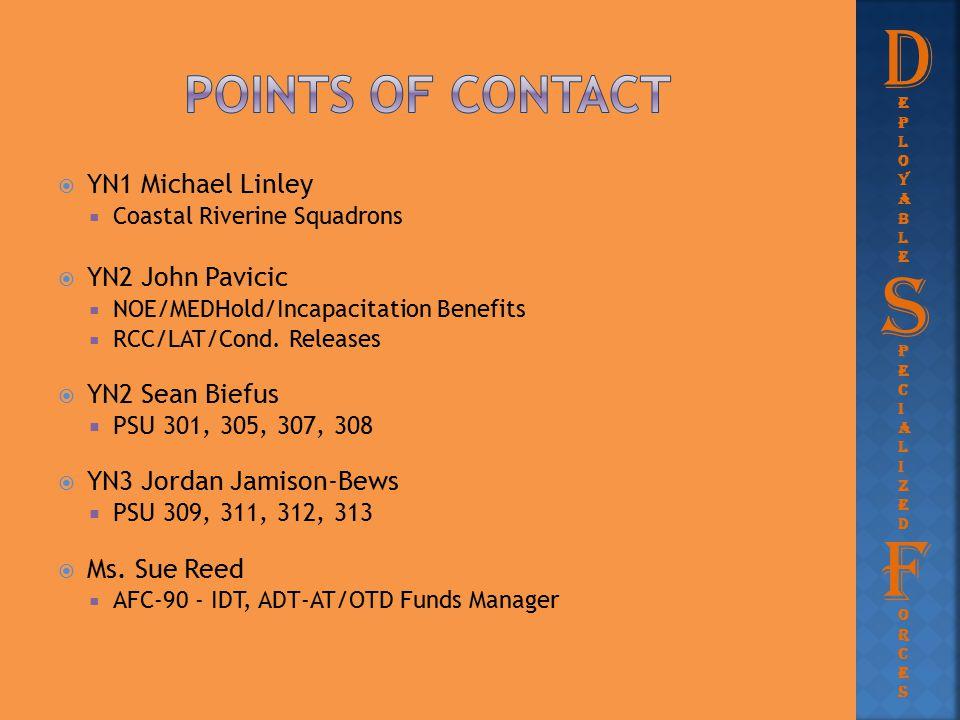 D S F Points of contact YN1 Michael Linley YN2 John Pavicic