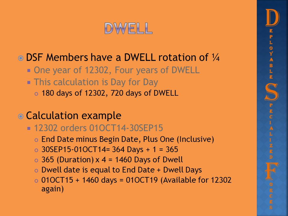D S F Dwell DSF Members have a DWELL rotation of ¼ Calculation example
