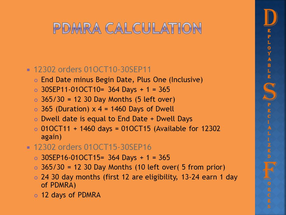 D S F PDMRA Calculation 12302 orders 01OCT10-30SEP11