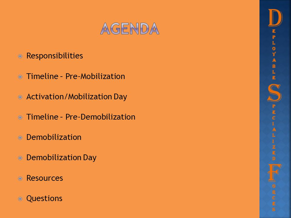 D S F agenda Responsibilities Timeline – Pre-Mobilization