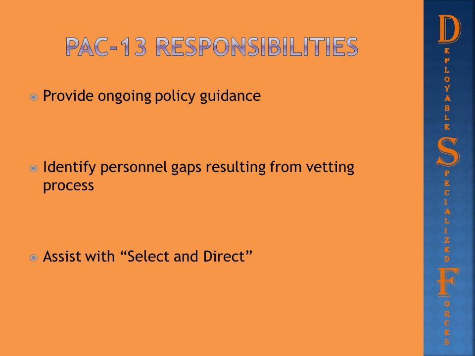 Pac-13 responsibilities