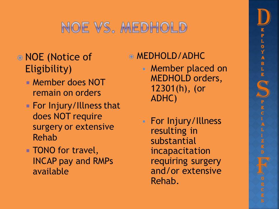 D S F NOE vs. medhold NOE (Notice of Eligibility) MEDHOLD/ADHC