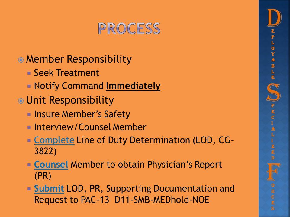 D S F Process Member Responsibility Unit Responsibility Seek Treatment