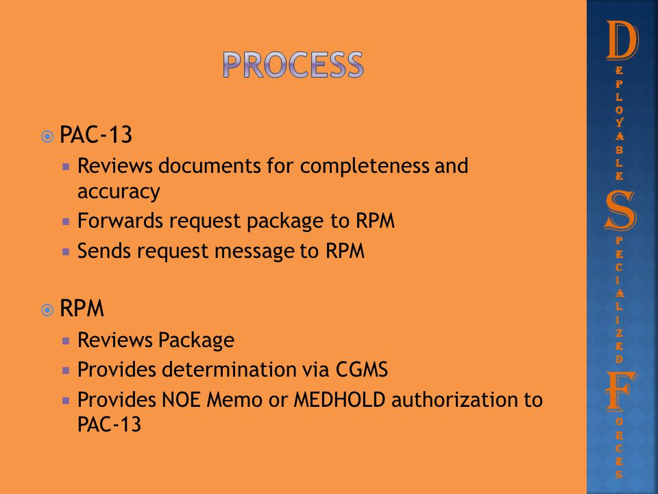 D Process. eployable. PAC-13. Reviews documents for completeness and accuracy. Forwards request package to RPM.