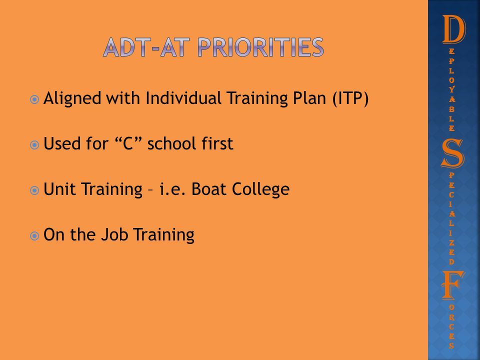 D S F Adt-at priorities Aligned with Individual Training Plan (ITP)