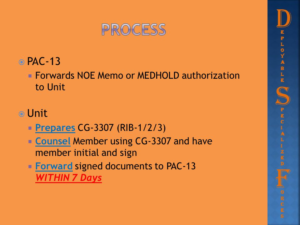 D Process. eployable. PAC-13. Forwards NOE Memo or MEDHOLD authorization to Unit. Unit. Prepares CG-3307 (RIB-1/2/3)