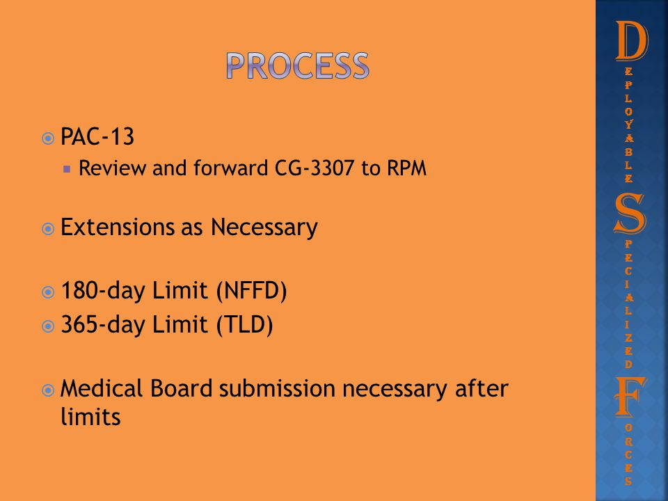 D S F process PAC-13 Extensions as Necessary 180-day Limit (NFFD)