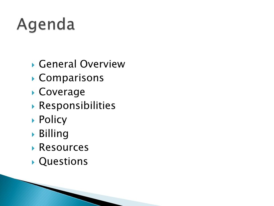 Agenda General Overview Comparisons Coverage Responsibilities Policy