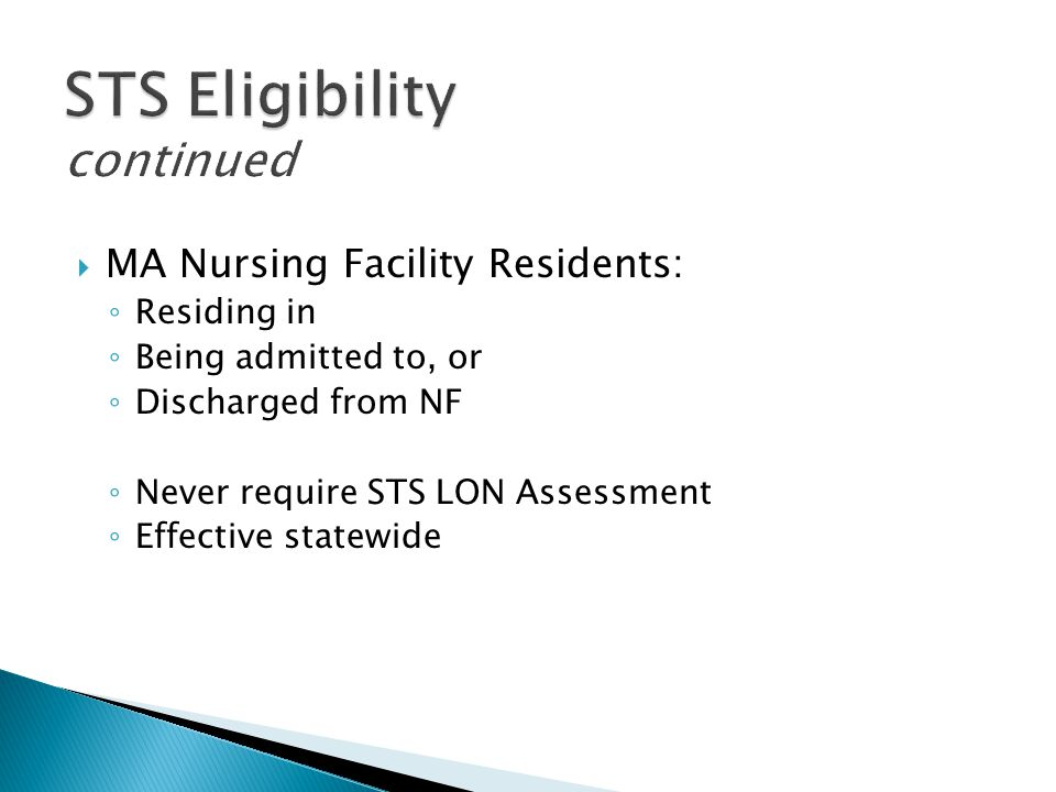 STS Eligibility continued
