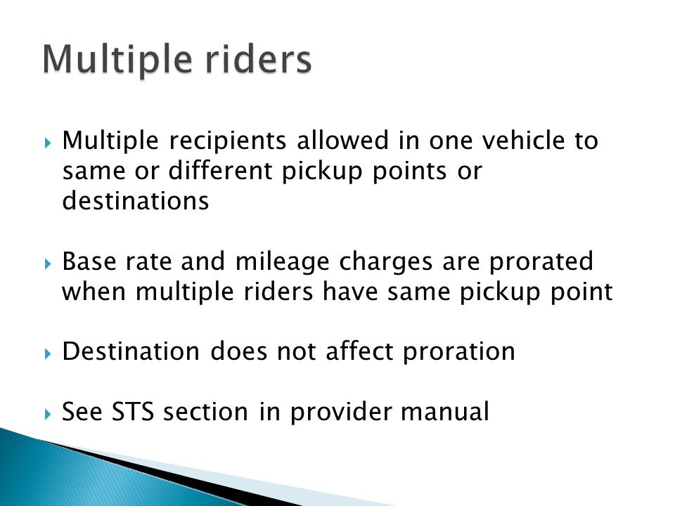 Multiple riders Multiple recipients allowed in one vehicle to same or different pickup points or destinations.