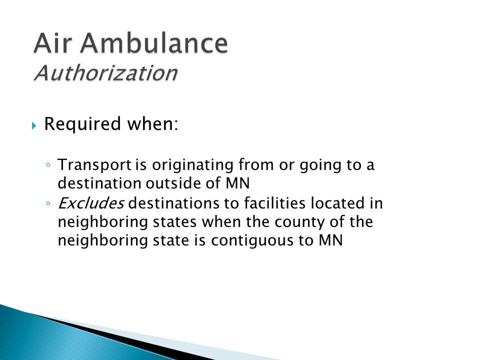 Air Ambulance Authorization