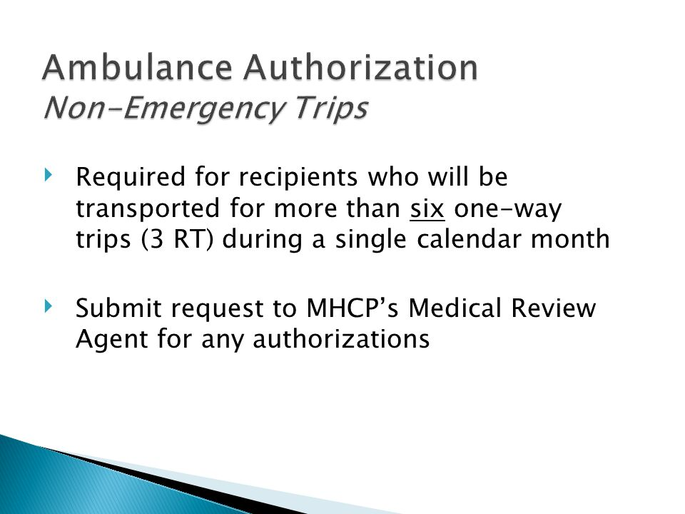 Ambulance Authorization Non-Emergency Trips