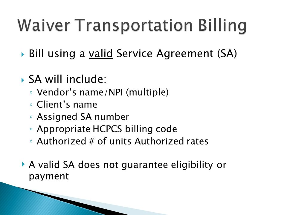 Waiver Transportation Billing