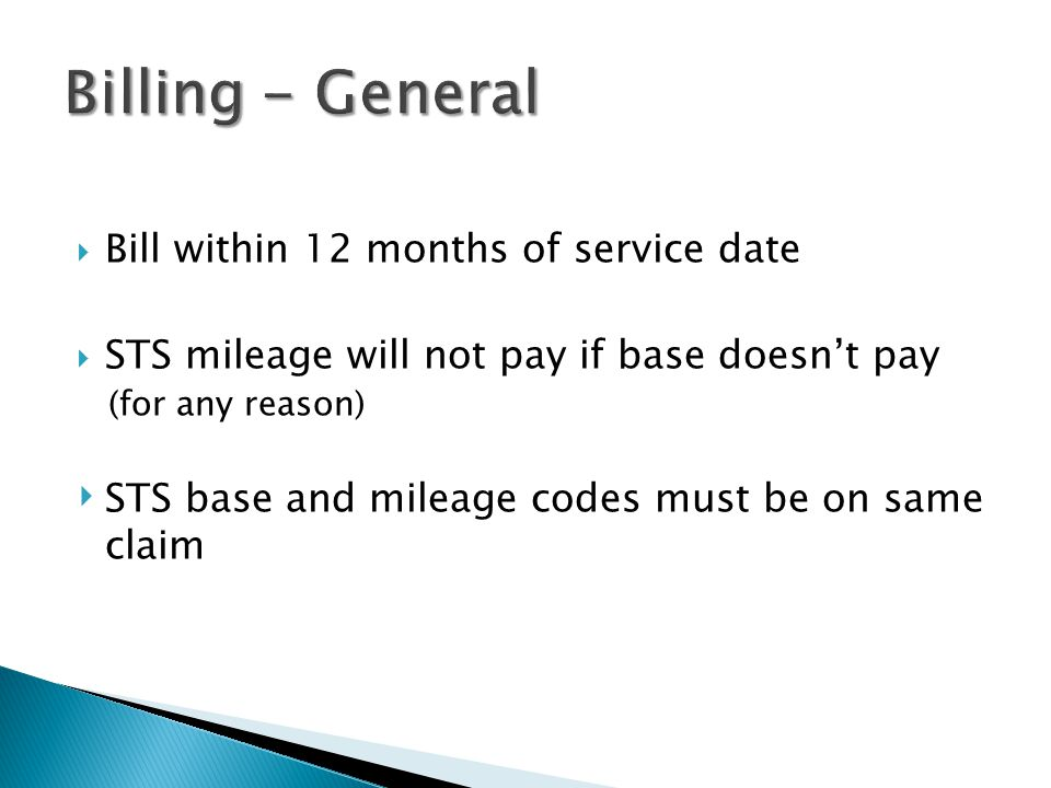 Billing - General Bill within 12 months of service date