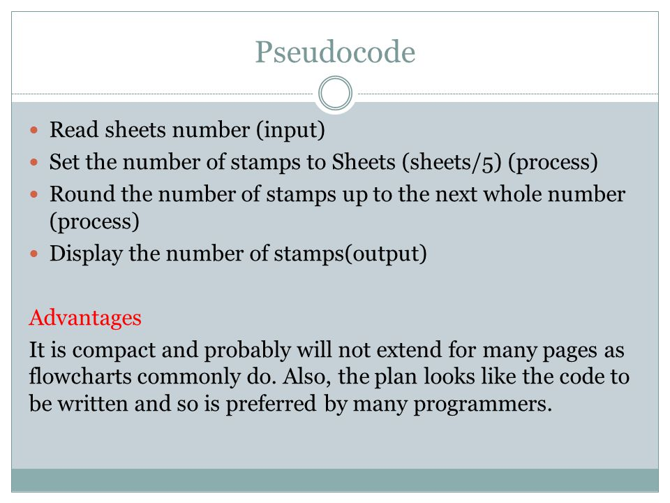 Pseudocode Read sheets number (input)