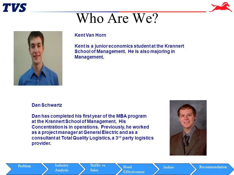 Who Are We Kent Van Horn. Kent is a junior economics student at the Krannert. School of Management. He is also majoring in.