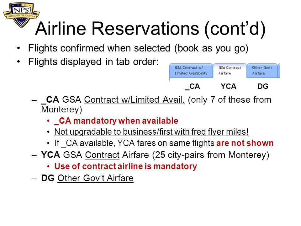 Airline Reservations (cont'd)