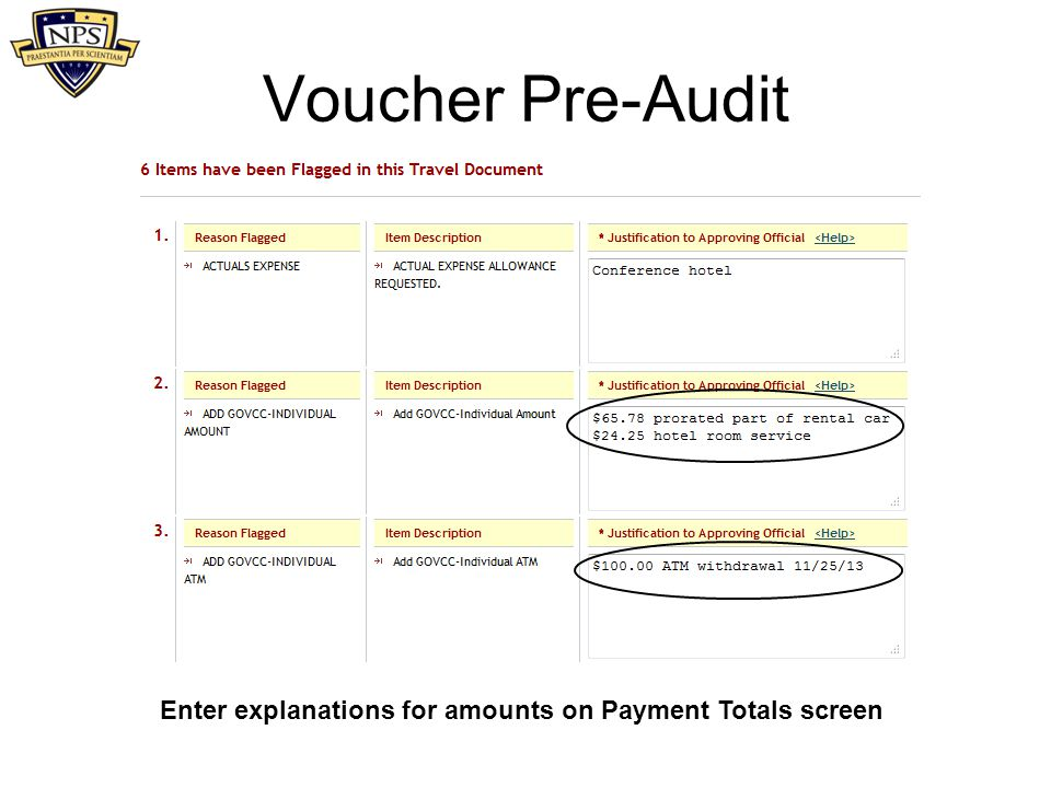Enter explanations for amounts on Payment Totals screen