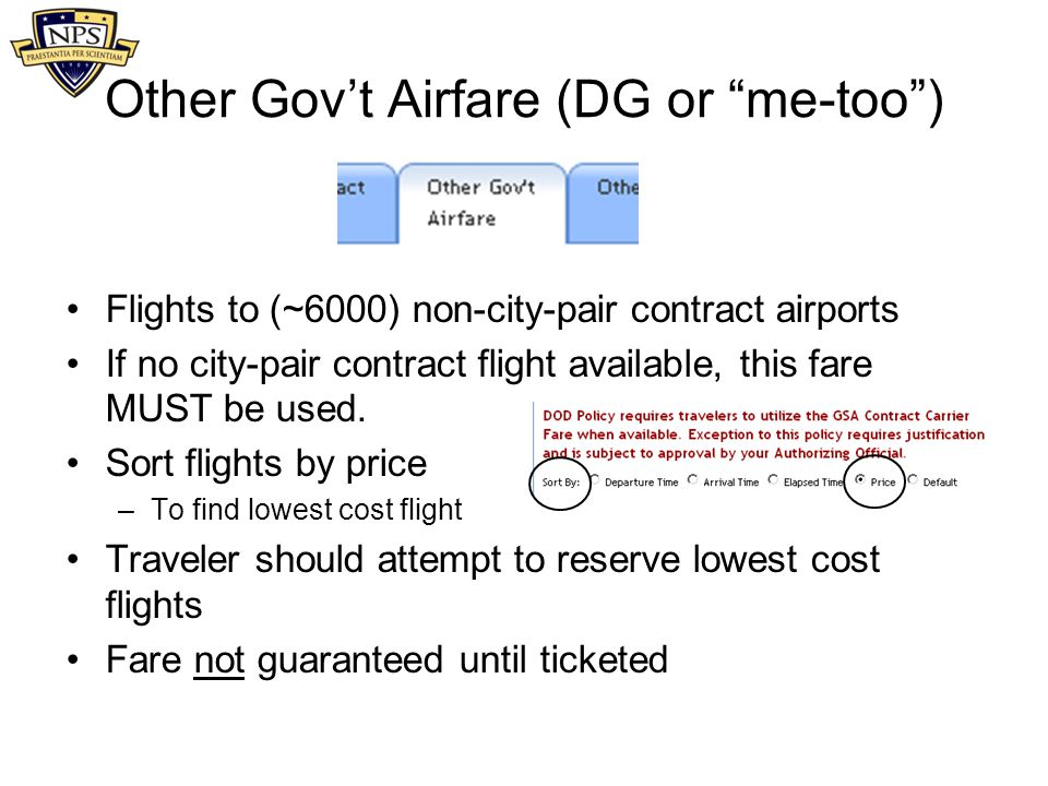 Other Gov't Airfare (DG or me-too )