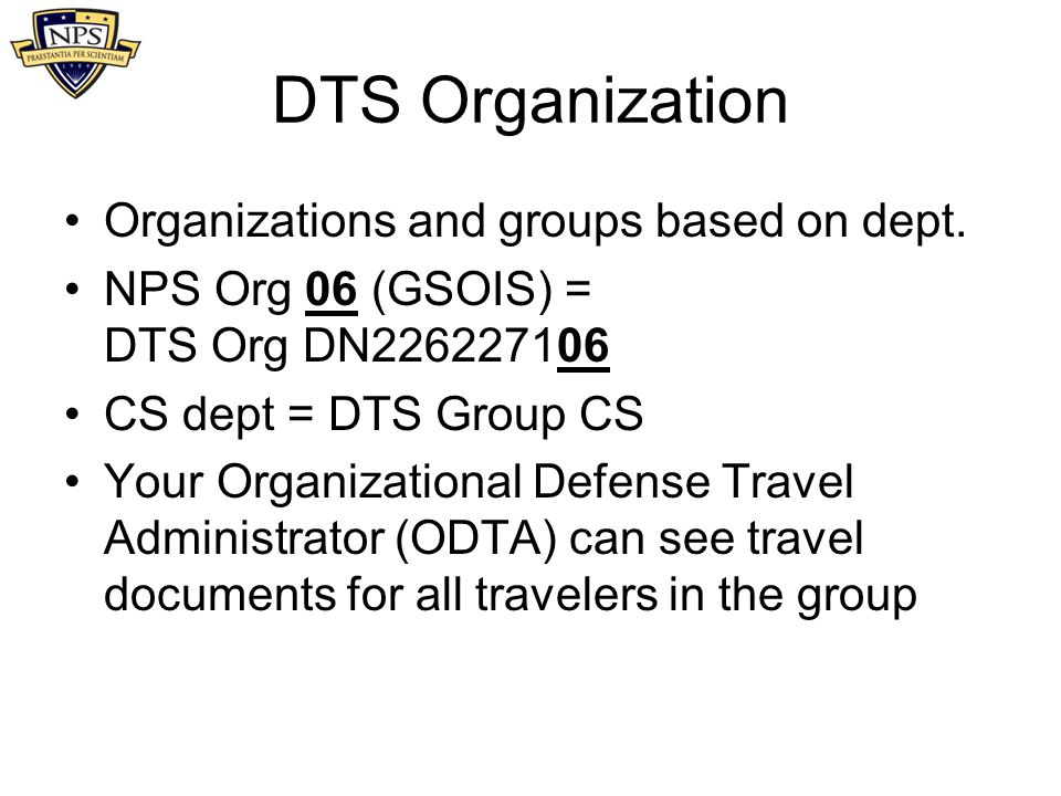 DTS Organization Organizations and groups based on dept.