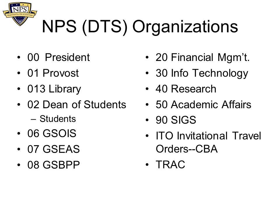 NPS (DTS) Organizations