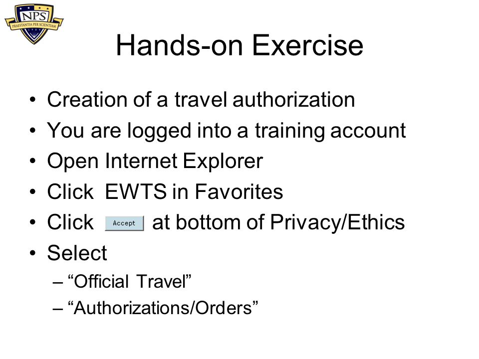 Hands-on Exercise Creation of a travel authorization