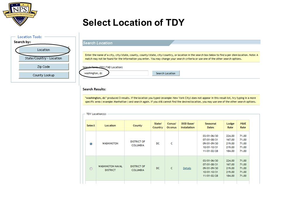 Select Location of TDY