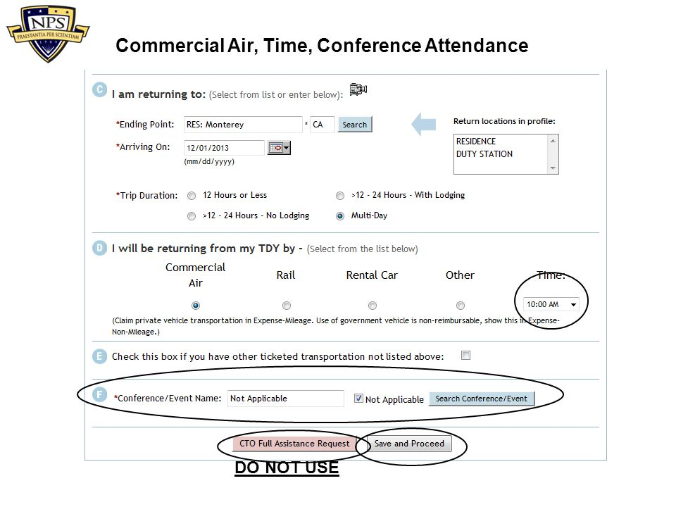 Commercial Air, Time, Conference Attendance
