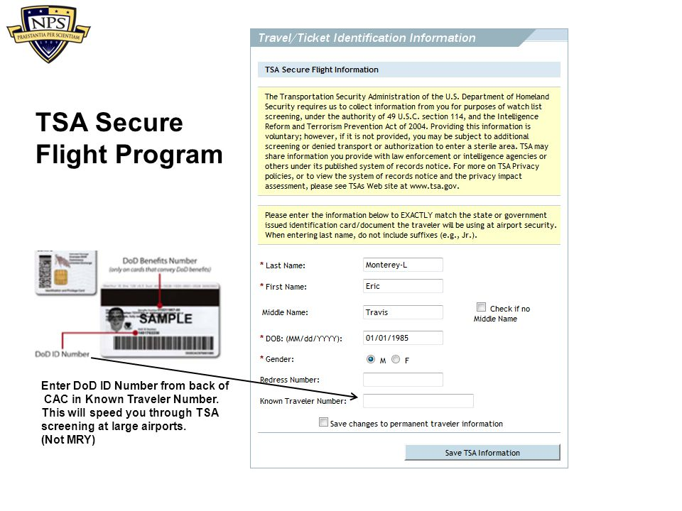 TSA Secure Flight Program Enter DoD ID Number from back of
