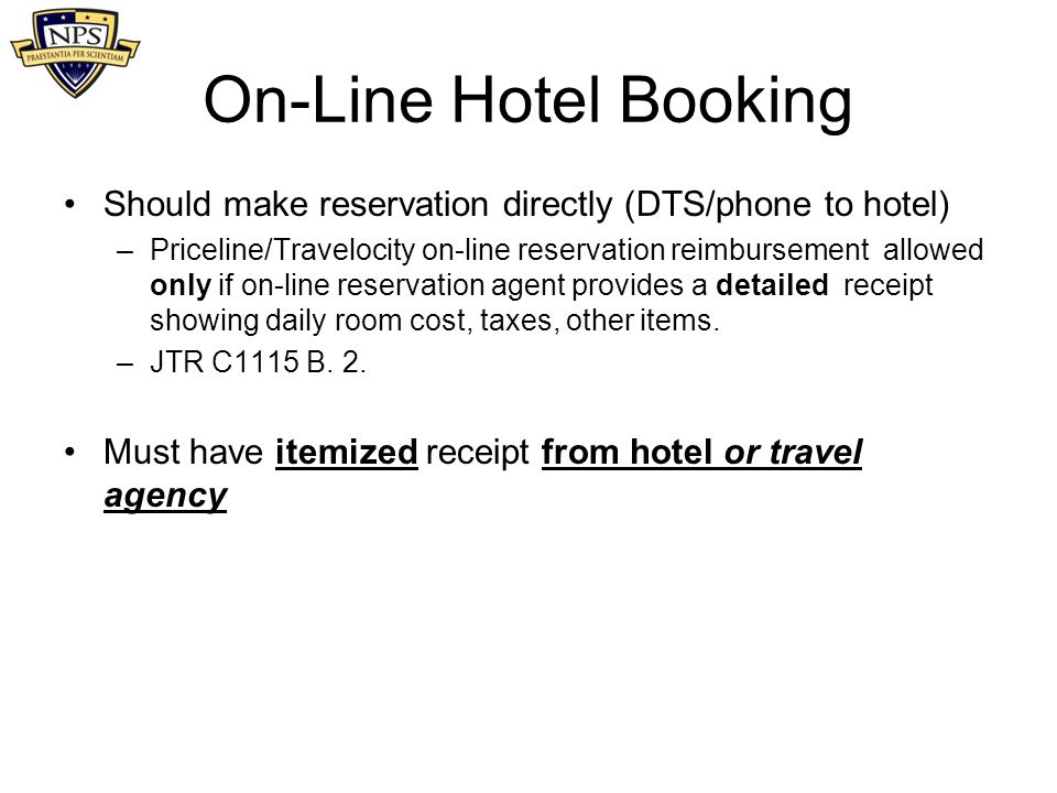 On-Line Hotel Booking Should make reservation directly (DTS/phone to hotel)