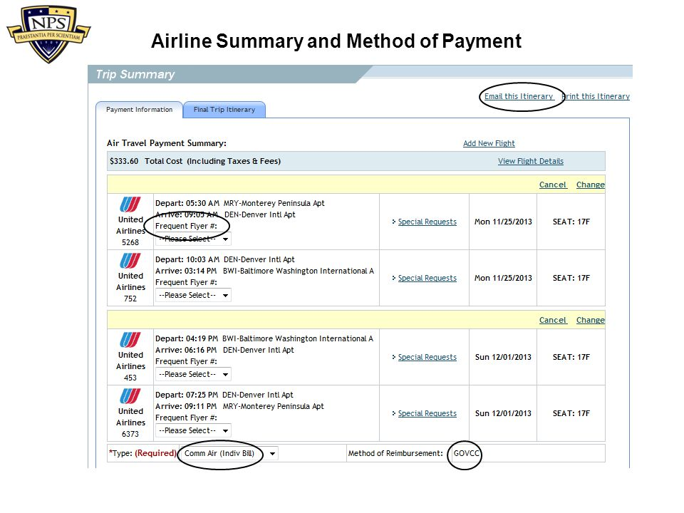 Airline Summary and Method of Payment