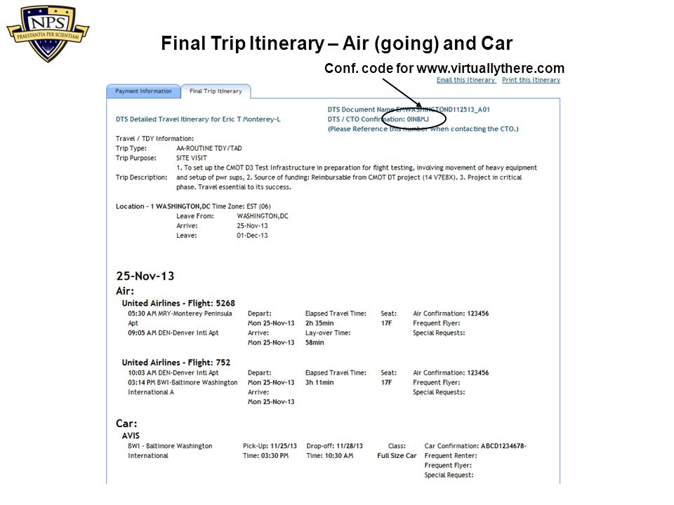 Final Trip Itinerary – Air (going) and Car