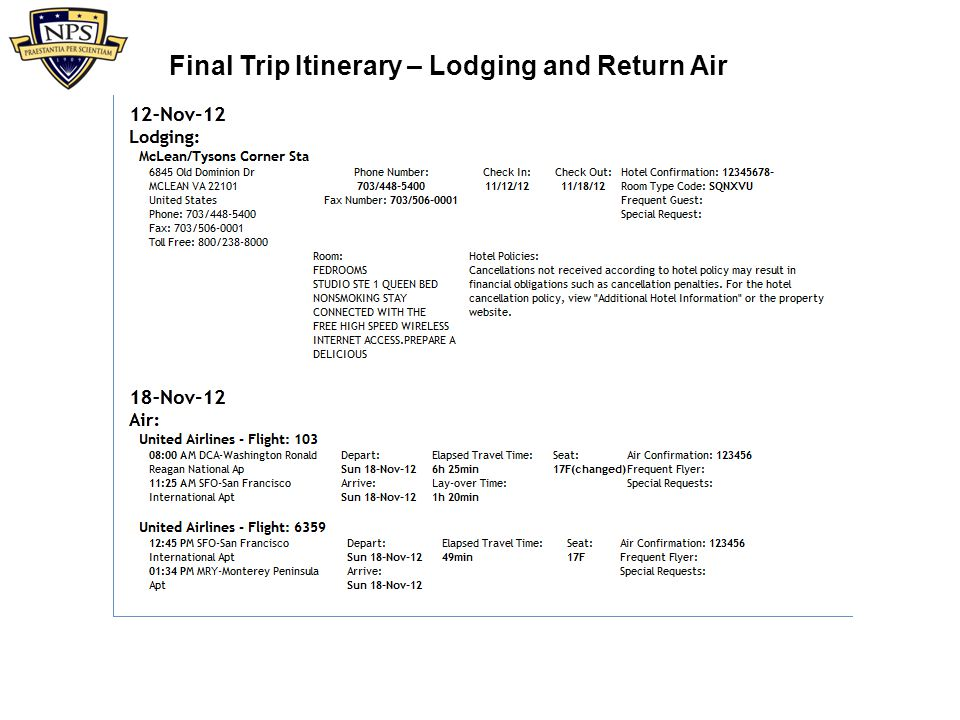 Final Trip Itinerary – Lodging and Return Air