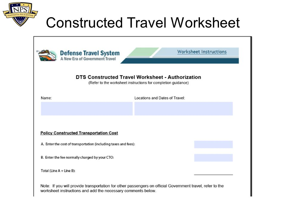 Constructed Travel Worksheet