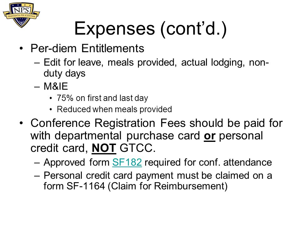 Expenses (cont'd.) Per-diem Entitlements