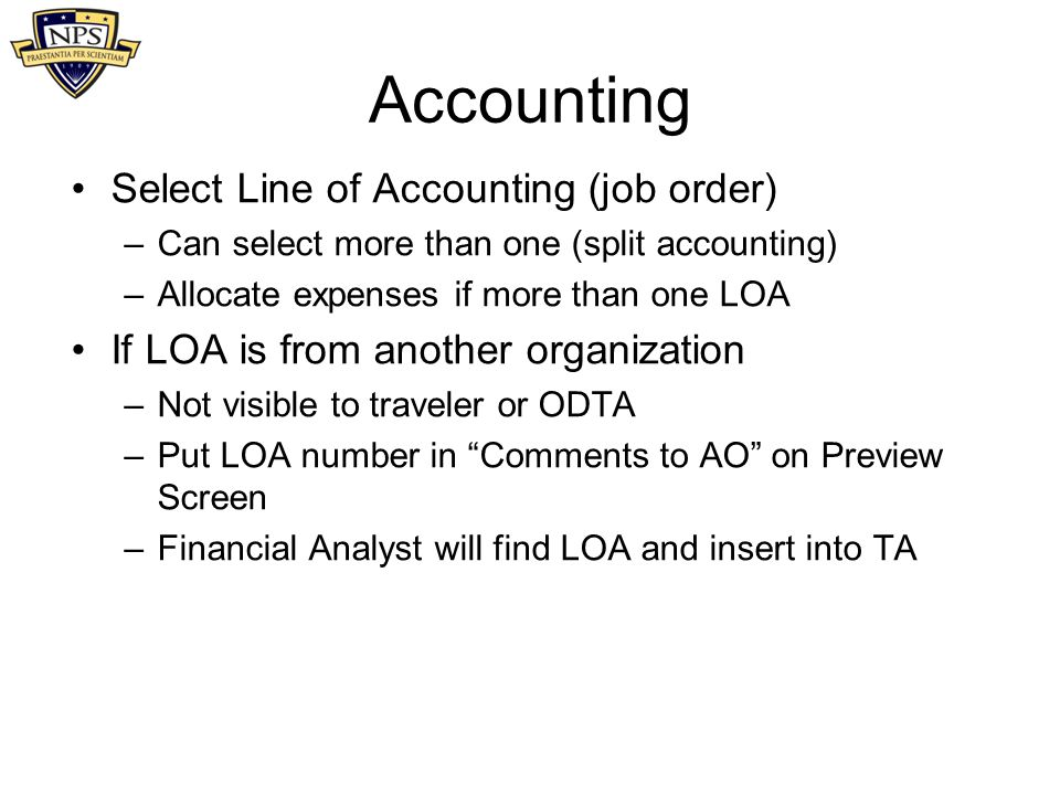Accounting Select Line of Accounting (job order)