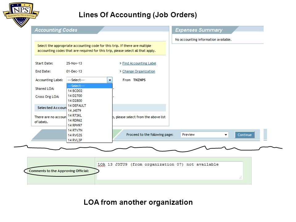 Lines Of Accounting (Job Orders) LOA from another organization