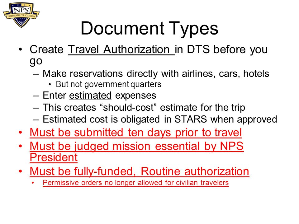Document Types Create Travel Authorization in DTS before you go