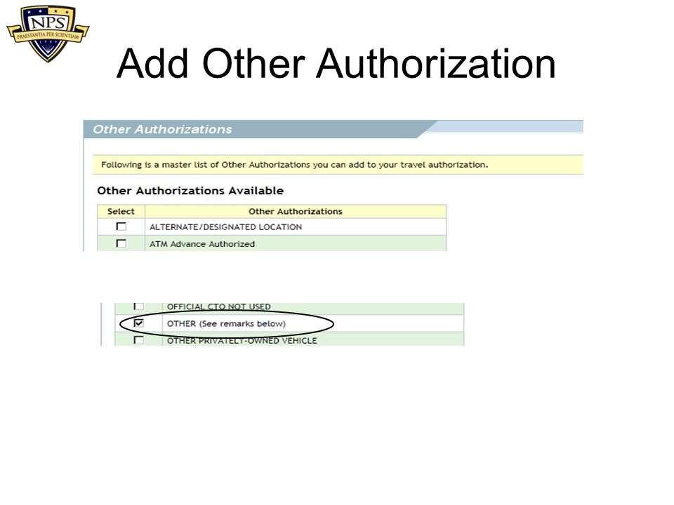 Add Other Authorization
