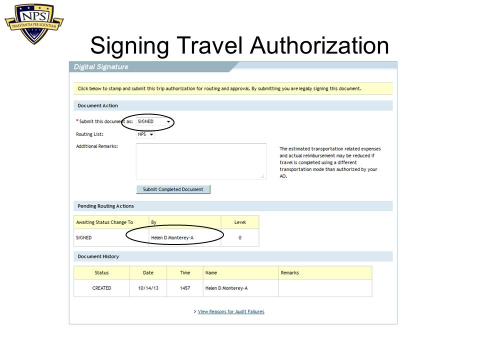 Signing Travel Authorization