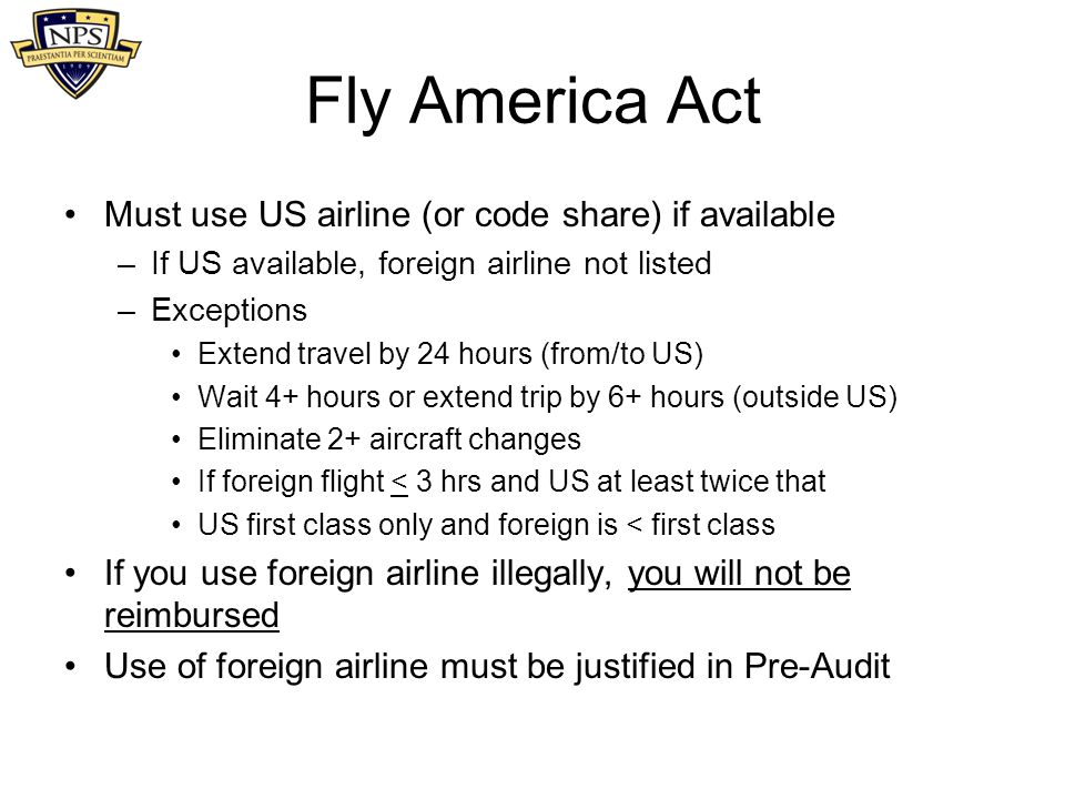 Fly America Act Must use US airline (or code share) if available