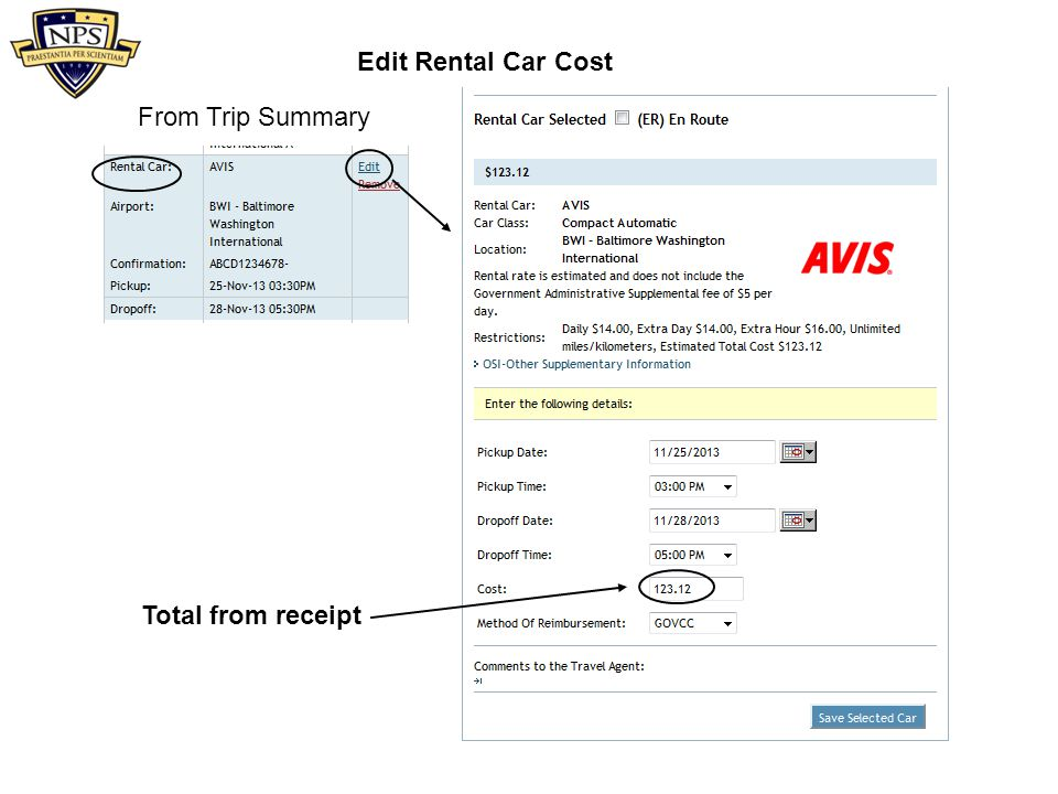 Edit Rental Car Cost From Trip Summary Total from receipt