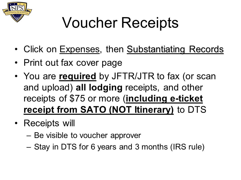Voucher Receipts Click on Expenses, then Substantiating Records