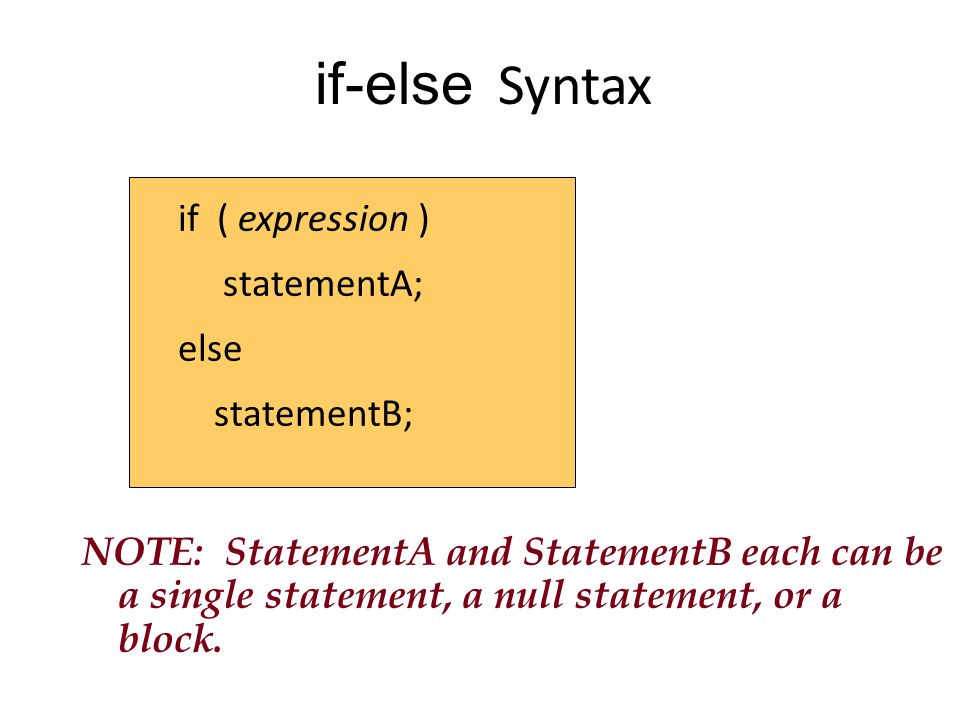 if-else Syntax if ( expression ) statementA; else statementB;