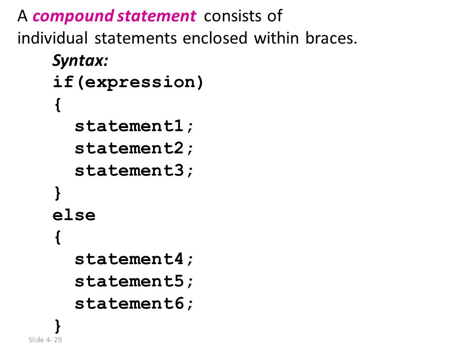 A compound statement consists of