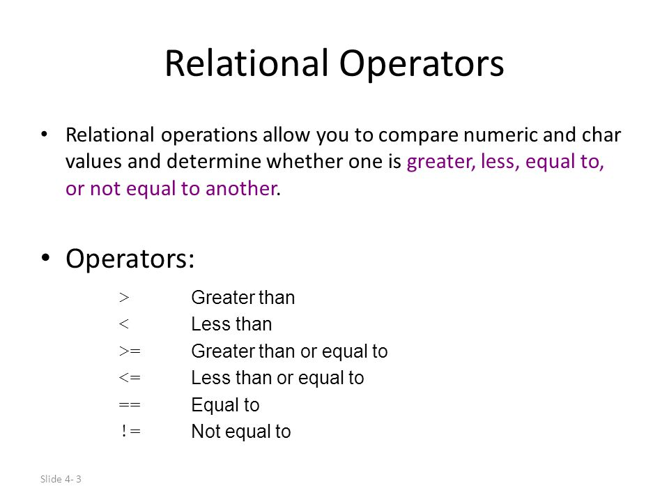 Relational Operators Operators:
