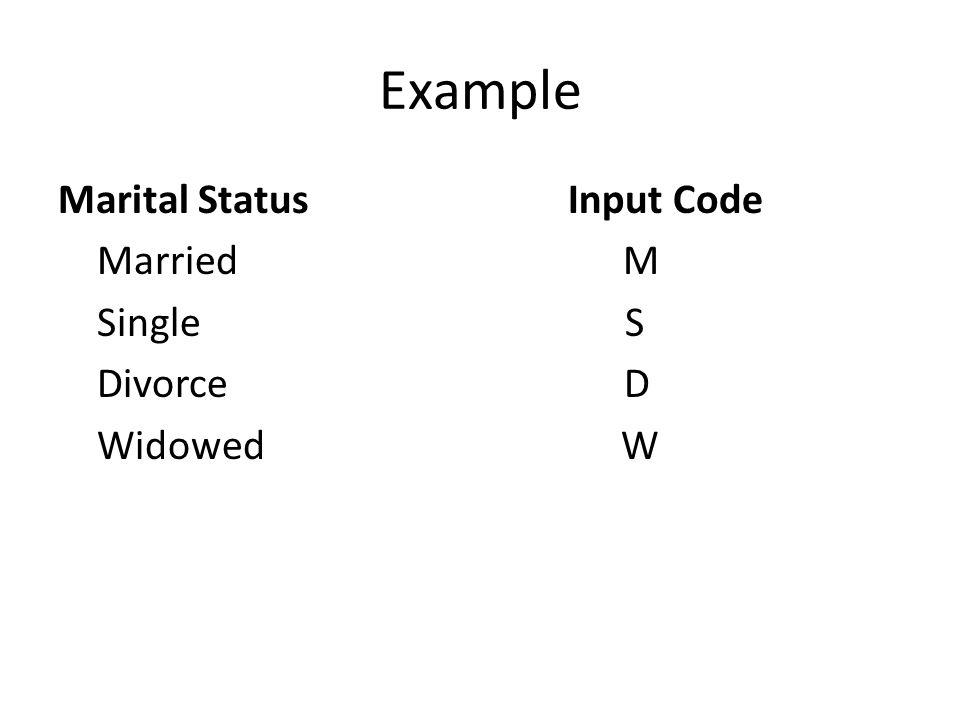 Example Marital Status Input Code Married M Single S Divorce D